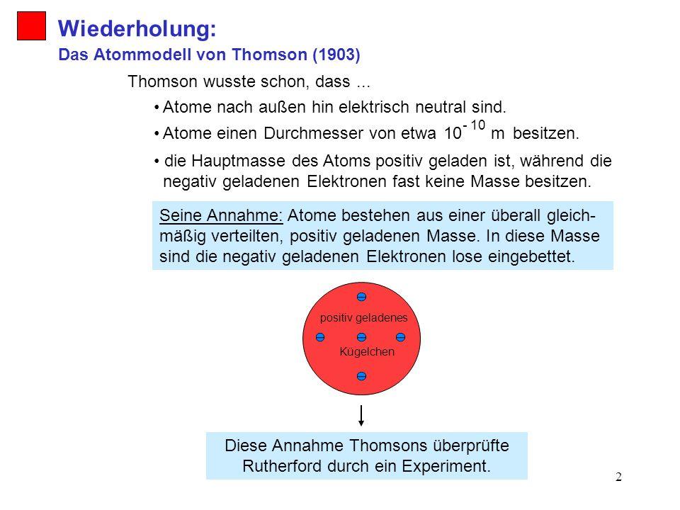 2 Wiederholung: Seine Annahme: Atome bestehen aus einer überall gleich- mäßig verteilten, positiv geladenen Masse. In diese Masse sind die negativ gel