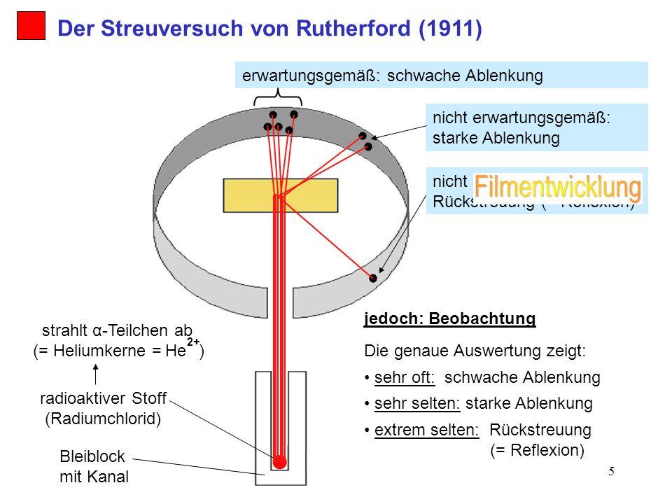 5 jedoch: Beobachtung erwartungsgemäß: schwache Ablenkung nicht erwartungsgemäß: starke Ablenkung nicht erwartungsgemäß: Rückstreuung (= Reflexion) se