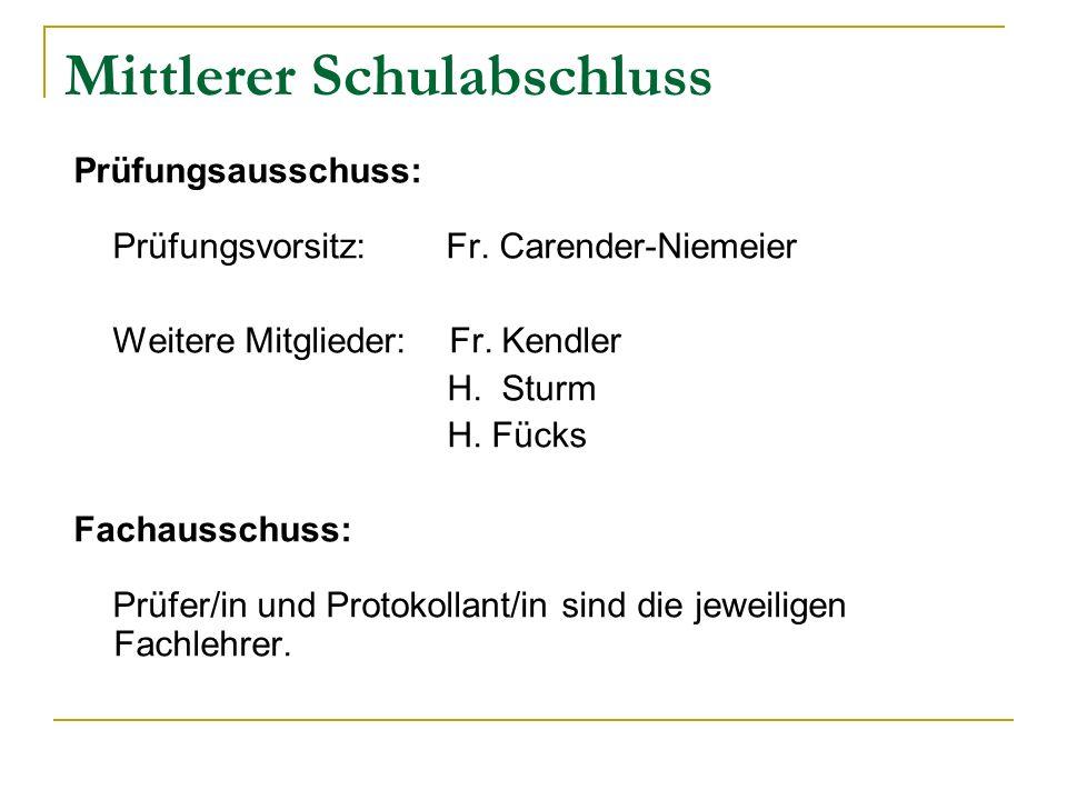 Mittlerer Schulabschluss Prüfungsausschuss: Prüfungsvorsitz: Fr. Carender-Niemeier Weitere Mitglieder: Fr. Kendler H. Sturm H. Fücks Fachausschuss: Pr