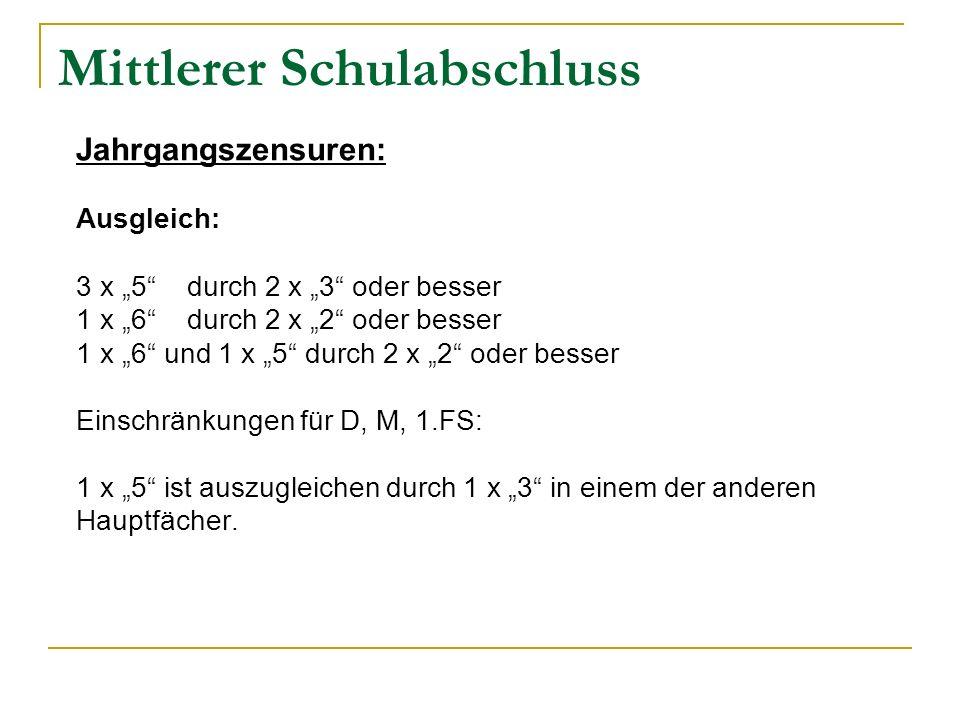 Mittlerer Schulabschluss Jahrgangszensuren: Ausgleich: 3 x 5 durch 2 x 3 oder besser 1 x 6 durch 2 x 2 oder besser 1 x 6 und 1 x 5 durch 2 x 2 oder be