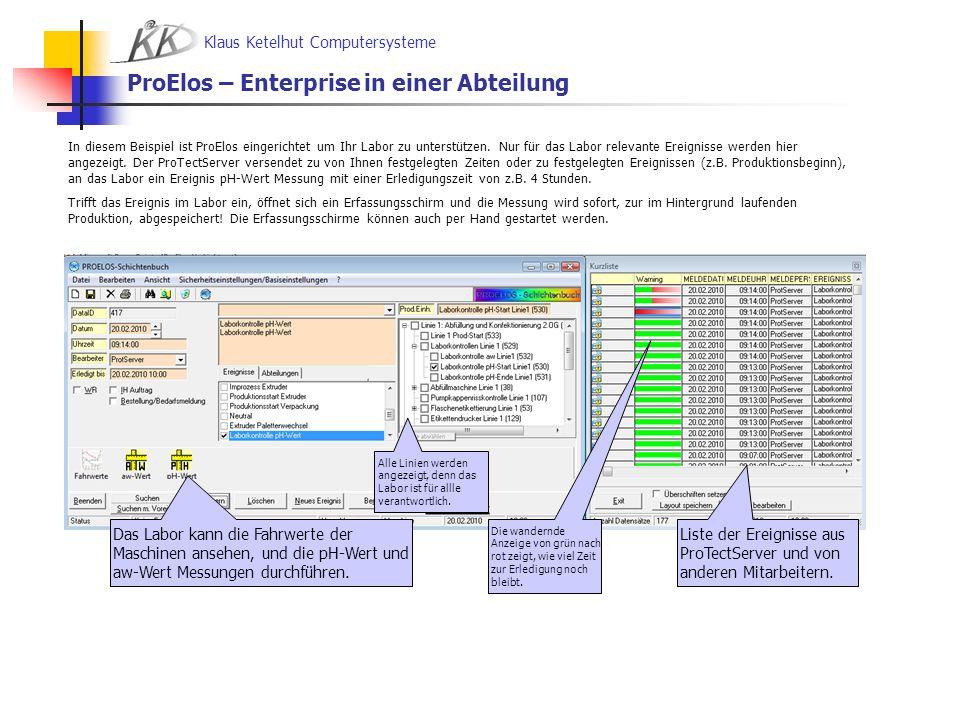 Klaus Ketelhut Computersysteme ProElos – Enterprise in einer Abteilung Das Labor kann die Fahrwerte der Maschinen ansehen, und die pH-Wert und aw-Wert