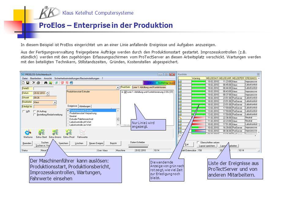 Klaus Ketelhut Computersysteme ProElos – Enterprise in der Produktion Der Maschinenführer kann auslösen: Produktionsstart, Produktionsbericht, Improze