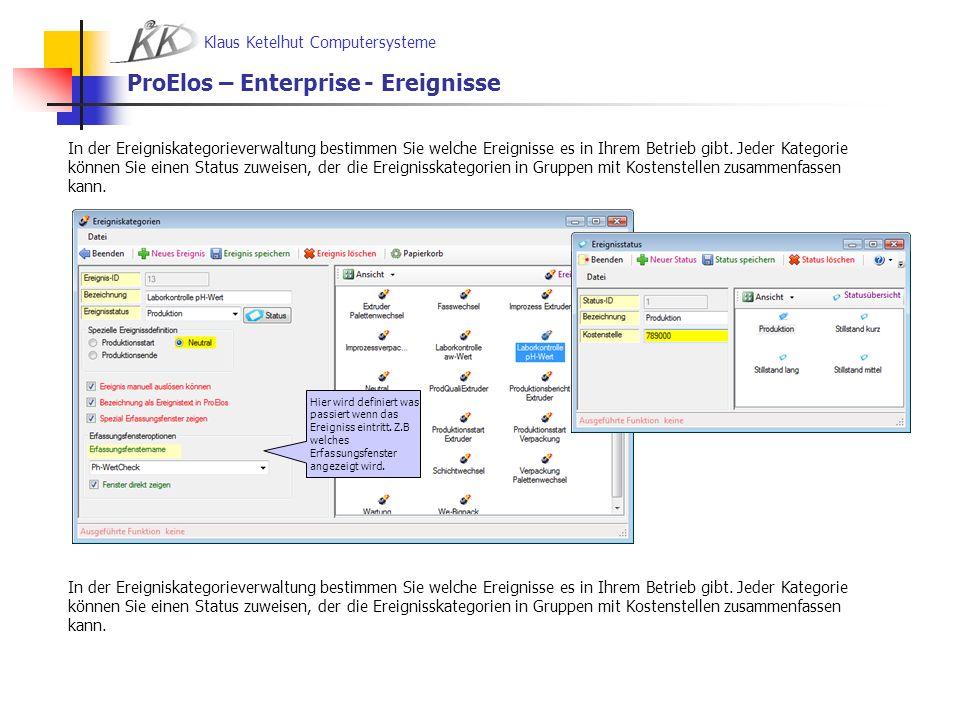 Klaus Ketelhut Computersysteme ProElos – Enterprise - Ereignisse In der Ereigniskategorieverwaltung bestimmen Sie welche Ereignisse es in Ihrem Betrie
