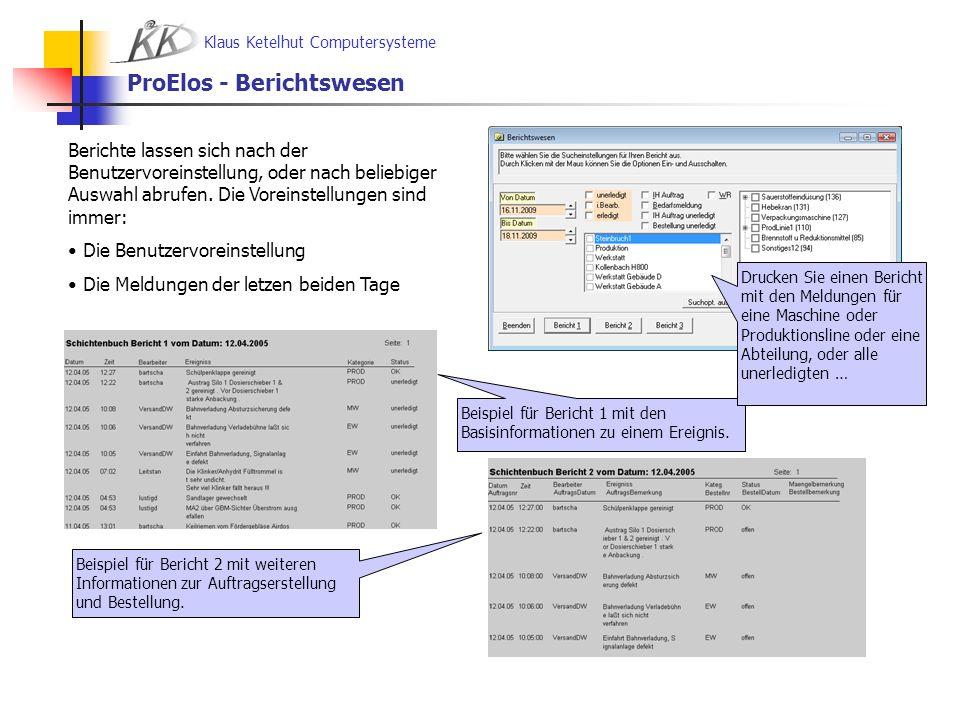 Klaus Ketelhut Computersysteme ProElos Basismodul – Preise ProElos Hauptversion1.950,-- - Inklusive ProSQL MSDE-SQL Datenbankmanager - Inklusive 2 Arbeitsplätze ProElos Arbeitsplatzversion 350,-- ProElos Installation zum Tagessatz 750,-- - Abrechnung nach Aufwand zzgl.