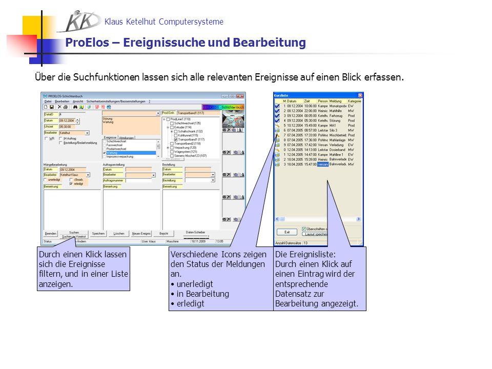 Klaus Ketelhut Computersysteme ProElos/ProTect – Enterprise - Ziele und die Ziele von ProElos Light Unterstützung der operativen und geplanten Wartungs-, Schadens- und Reparaturprozesse an den Produktionslinien mit erweiterten Werkzeugen.
