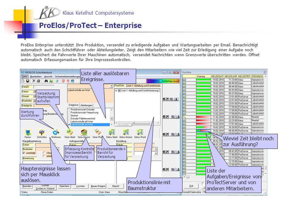 Klaus Ketelhut Computersysteme ProElos – Enterprise in einer Abteilung Das Labor kann die Fahrwerte der Maschinen ansehen, und die pH-Wert und aw-Wert Messungen durchführen.