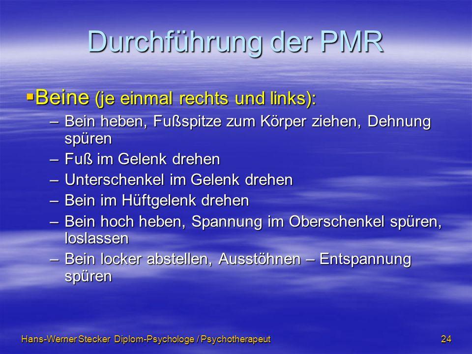 Hans-Werner Stecker Diplom-Psychologe / Psychotherapeut 24 Durchführung der PMR Beine (je einmal rechts und links): Beine (je einmal rechts und links)