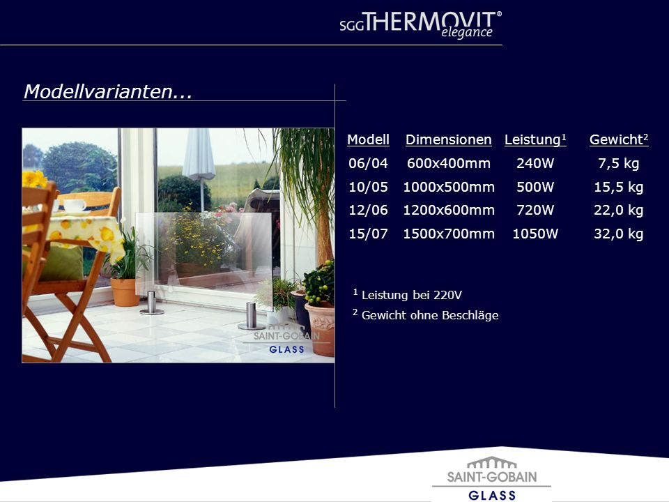 Dimensionen 600x400mm 1000x500mm 1200x600mm 1500x700mm Leistung 1 240W 500W 720W 1050W Gewicht 2 7,5 kg 15,5 kg 22,0 kg 32,0 kg Modell 06/04 10/05 12/