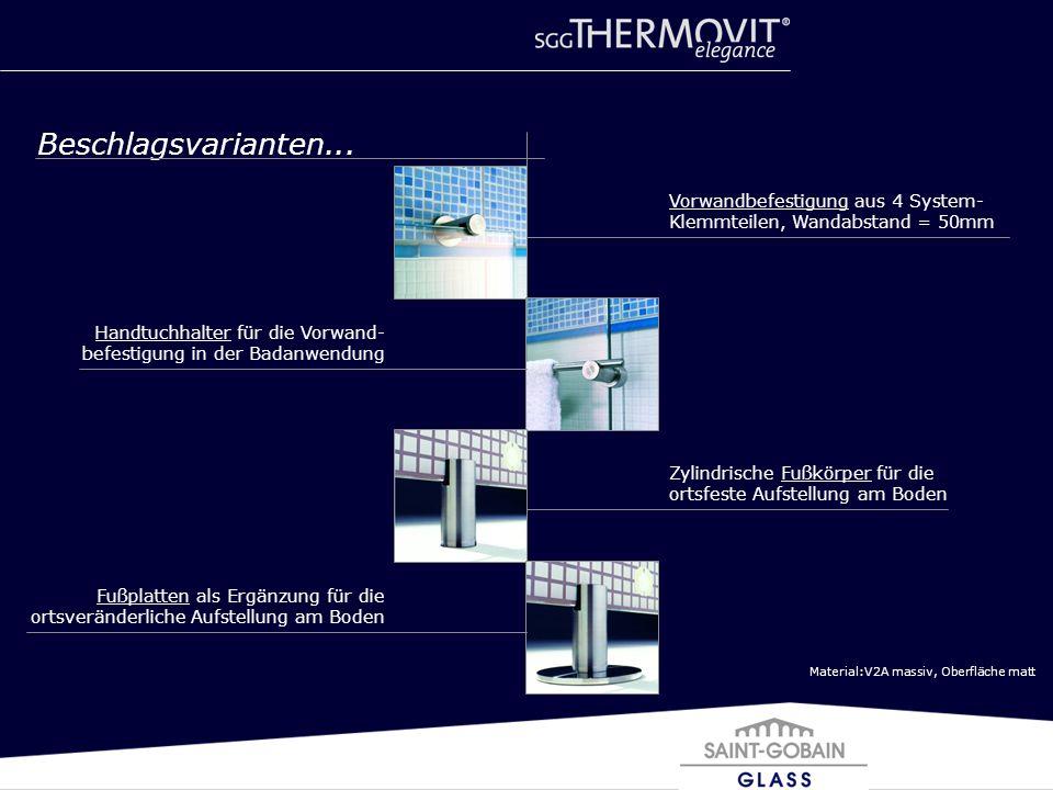 Material:V2A massiv, Oberfläche matt Beschlagsvarianten... Vorwandbefestigung aus 4 System- Klemmteilen, Wandabstand = 50mm Handtuchhalter für die Vor