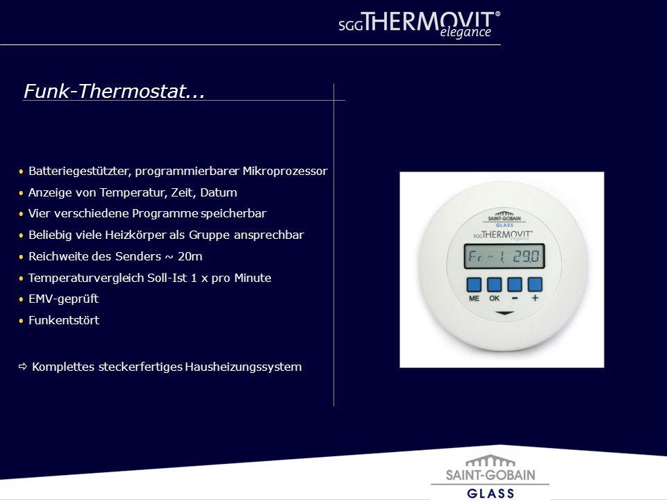Batteriegestützter, programmierbarer Mikroprozessor Anzeige von Temperatur, Zeit, Datum Vier verschiedene Programme speicherbar Beliebig viele Heizkör