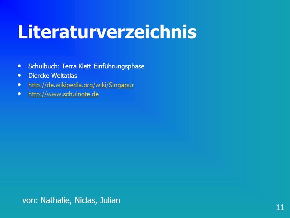 Literaturverzeichnis Schulbuch: Terra Klett Einführungsphase Diercke Weltatlas http://de.wikipedia.org/wiki/Singapur http://www.schulnote.de 11 von: N