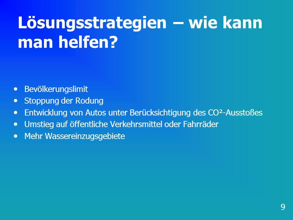 Lösungsstrategien – wie kann man helfen? Bevölkerungslimit Stoppung der Rodung Entwicklung von Autos unter Berücksichtigung des CO²-Ausstoßes Umstieg