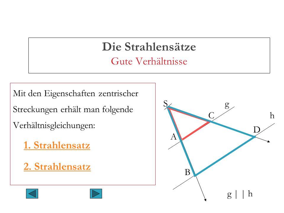 Die Strahlensätze Gute Verhältnisse Der erste Strahlensatz (I) SA : SB = SC : SD SA : AB = SC : CD und SB : AB = SD : CD Werden Strahlen mit gemeinsamem Anfangspunkt von parallelen Geraden geschnitten, dann verhalten sich die Abschnitte auf einem Strahl zueinander wie die gleichliegenden Abschnitte auf einem anderen Strahl.
