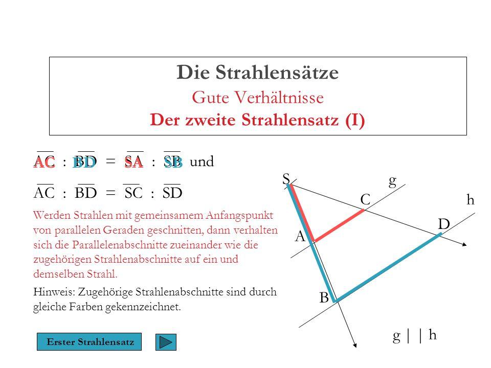 Die Strahlensätze Gute Verhältnisse Der zweite Strahlensatz (II) AC : BD = SA : SB und AC : BD = SC : SD Werden Strahlen mit gemeinsamem Anfangspunkt von parallelen Geraden geschnitten, dann verhalten sich die Parallelenabschnitte zueinander wie die zugehörigen Strahlenabschnitte auf ein und demselben Strahl.