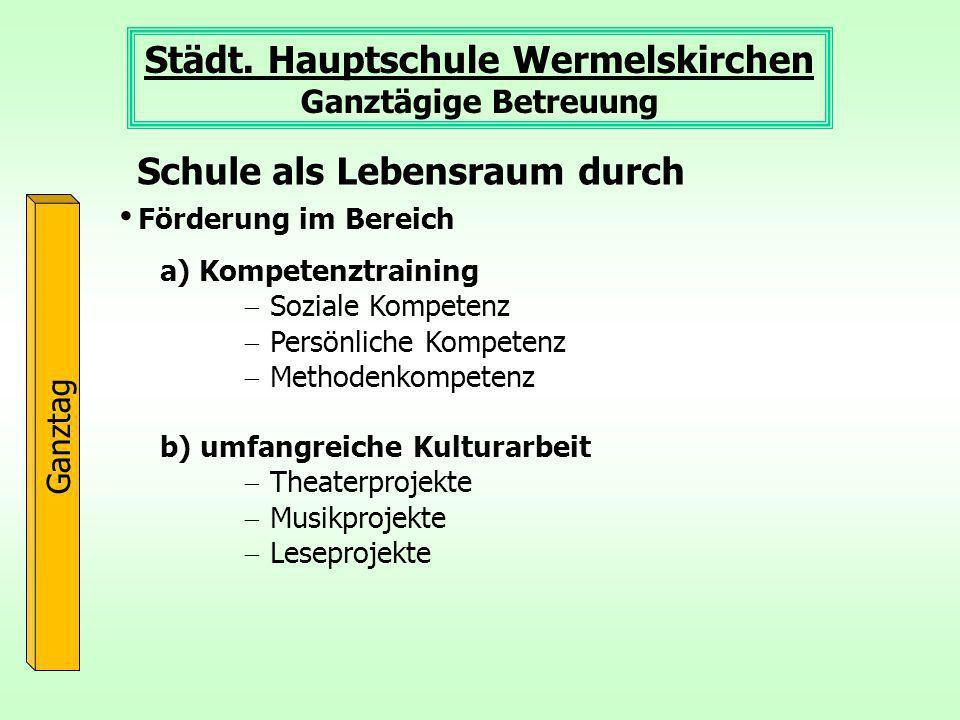 Städt. Hauptschule Wermelskirchen Ganztägige Betreuung Ganztag Förderung im Bereich Schule als Lebensraum durch a) Kompetenztraining Soziale Kompetenz