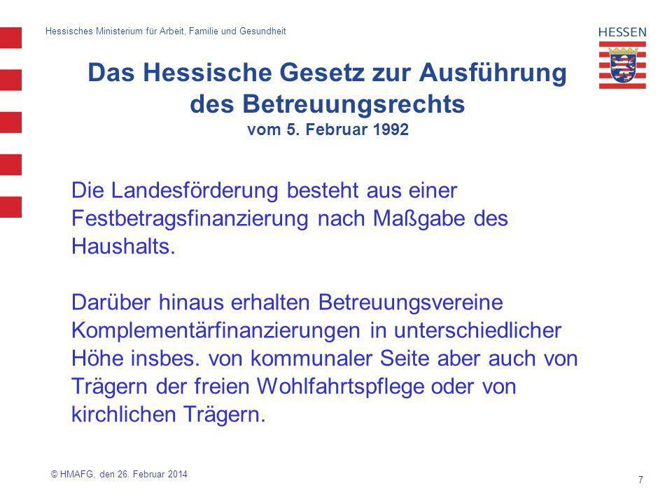 8 Hessisches Ministerium für Arbeit, Familie und Gesundheit Förderung von Betreuungsvereinen Eine Verpflichtung zur kommunalen Förderung besteht in Hessen nicht.