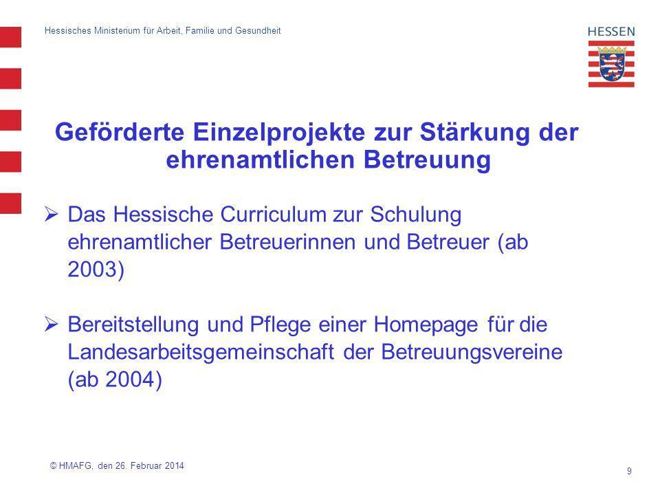 10 Hessisches Ministerium für Arbeit, Familie und Gesundheit Geförderte Einzelprojekte zur Stärkung der ehrenamtlichen Betreuung Handbuch für die Querschnittarbeit (ab 2008) Projekt Regionale Fachkreise im Betreuungsrecht, ReFaB (2007/2008) Projekt Betreuung im Tandem (ab 2009) © HMAFG, den 26.