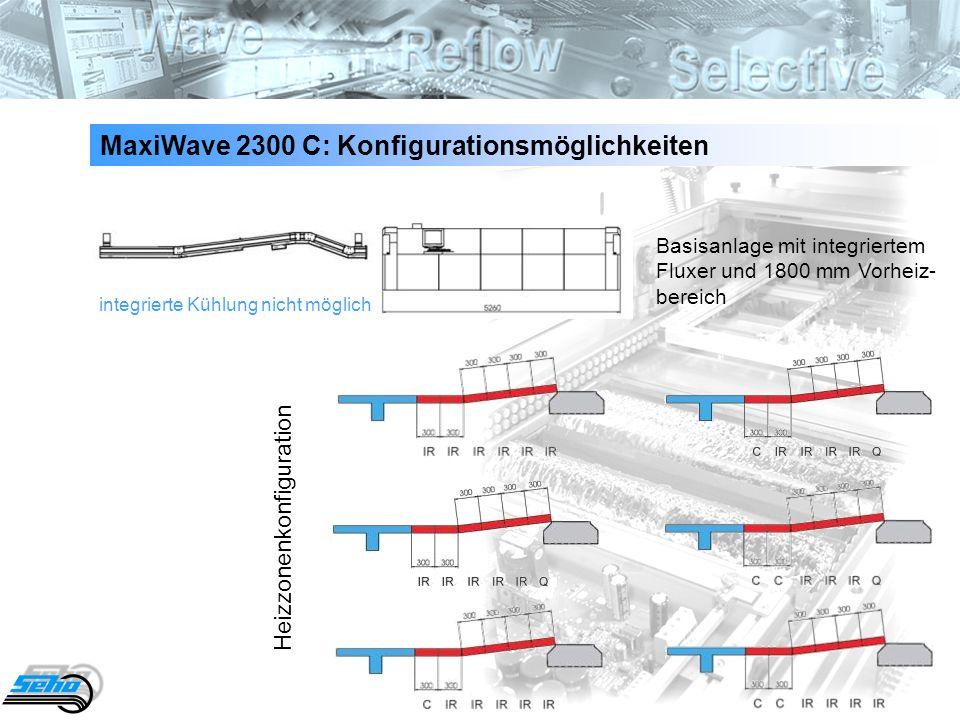 10 MaxiWave 2300 C: Konfigurationsmöglichkeiten integrierte Kühlung nicht möglich Basisanlage mit integriertem Fluxer und 1800 mm Vorheiz- bereich Hei