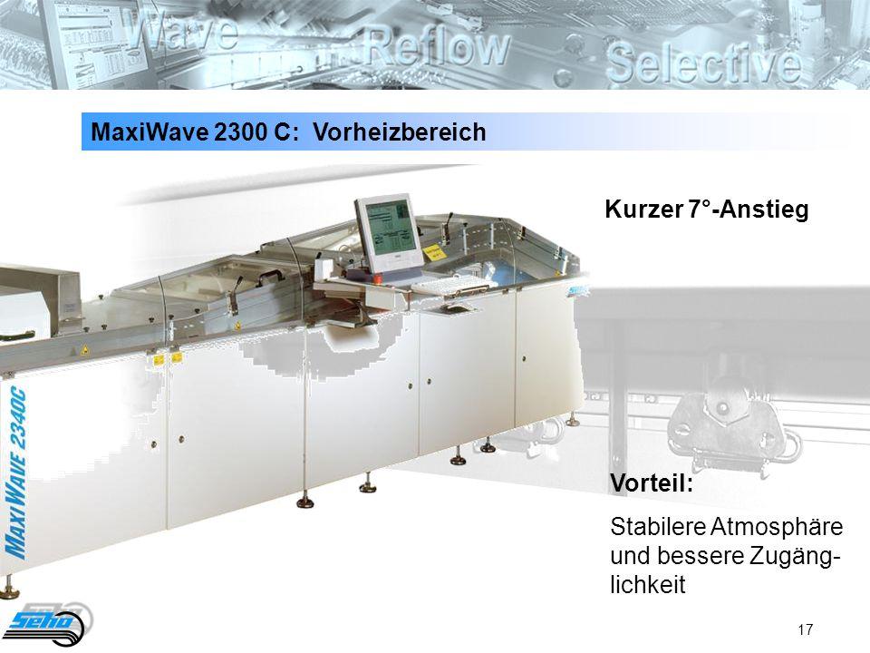 17 MaxiWave 2300 C: Vorheizbereich Kurzer 7°-Anstieg Vorteil: Stabilere Atmosphäre und bessere Zugäng- lichkeit