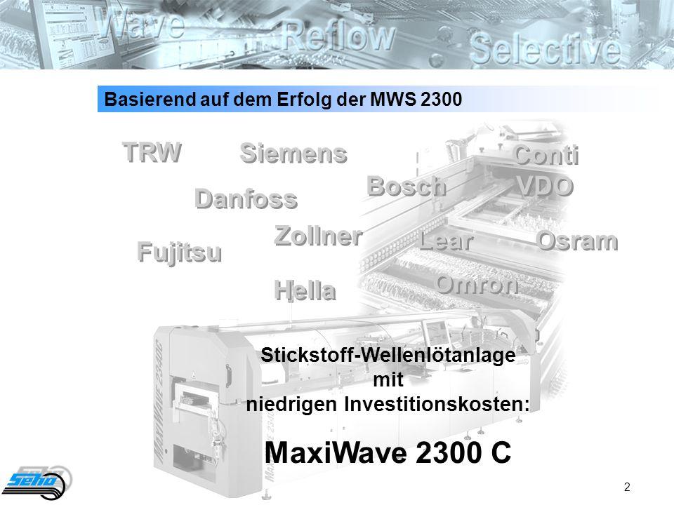 2 Basierend auf dem Erfolg der MWS 2300 Stickstoff-Wellenlötanlage mit niedrigen Investitionskosten: MaxiWave 2300 C TRW Danfoss Fujitsu Hella Zollner