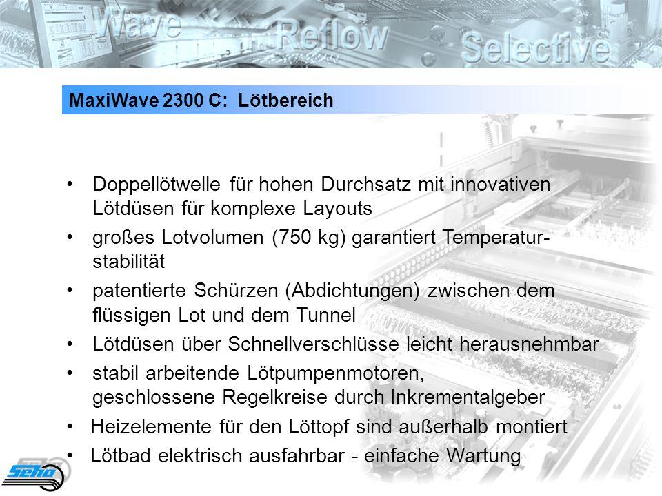 23 MaxiWave 2300 C: Lötbereich Doppellötwelle für hohen Durchsatz mit innovativen Lötdüsen für komplexe Layouts großes Lotvolumen (750 kg) garantiert