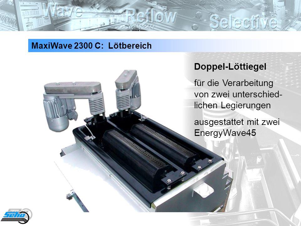 28 Doppel-Löttiegel für die Verarbeitung von zwei unterschied- lichen Legierungen ausgestattet mit zwei EnergyWave45 MaxiWave 2300 C: Lötbereich