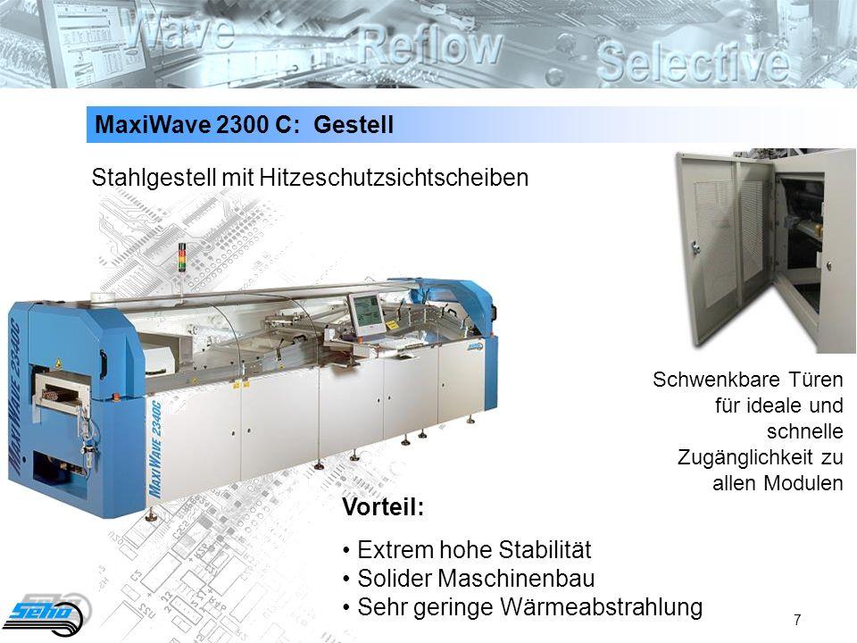 7 MaxiWave 2300 C: Gestell Stahlgestell mit Hitzeschutzsichtscheiben Vorteil: Extrem hohe Stabilität Solider Maschinenbau Sehr geringe Wärmeabstrahlun