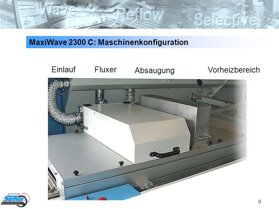 9 MaxiWave 2300 C: Maschinenkonfiguration Einlauf Fluxer Absaugung Vorheizbereich