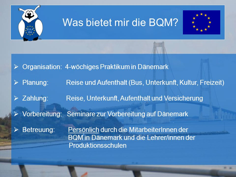 Organisation: 4-wöchiges Praktikum in Dänemark Planung: Reise und Aufenthalt (Bus, Unterkunft, Kultur, Freizeit) Zahlung: Reise, Unterkunft, Aufenthal
