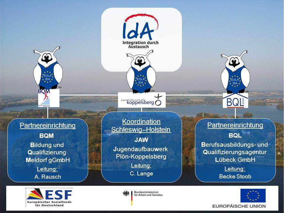 Partnereinrichtung BQM Bildung und Qualifizierung Meldorf gGmbH Leitung: A. Rausch Koordination Schleswig–Holstein JAW Jugendaufbauwerk Plön-Koppelsbe