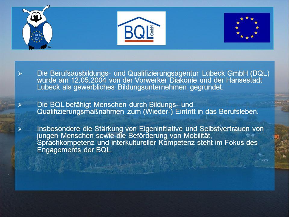 Die Berufsausbildungs- und Qualifizierungsagentur Lübeck GmbH (BQL) wurde am 12.05.2004 von der Vorwerker Diakonie und der Hansestadt Lübeck als gewer