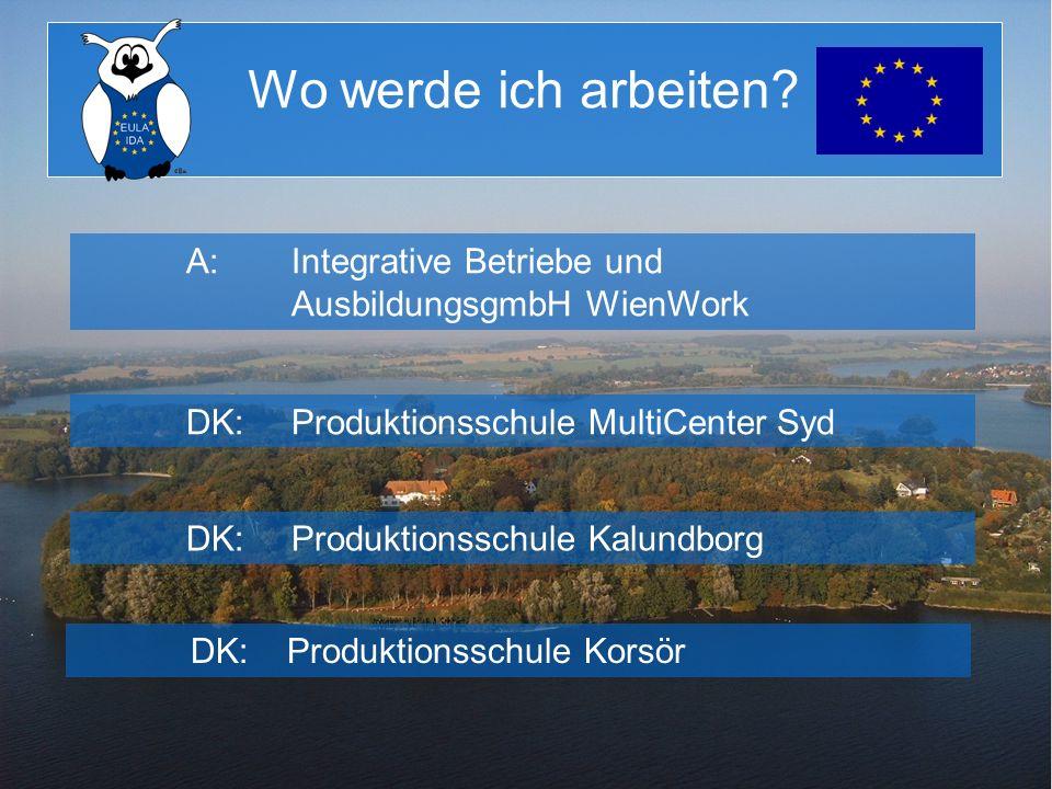Wo werde ich arbeiten? A:Integrative Betriebe und AusbildungsgmbH WienWork DK:Produktionsschule MultiCenter Syd DK:Produktionsschule Kalundborg DK:Pro