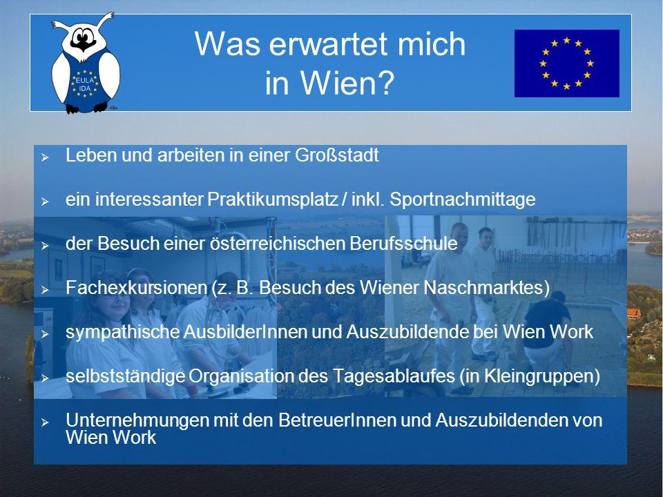 Was erwartet mich in Wien? Leben und arbeiten in einer Großstadt ein interessanter Praktikumsplatz / inkl. Sportnachmittage der Besuch einer österreic