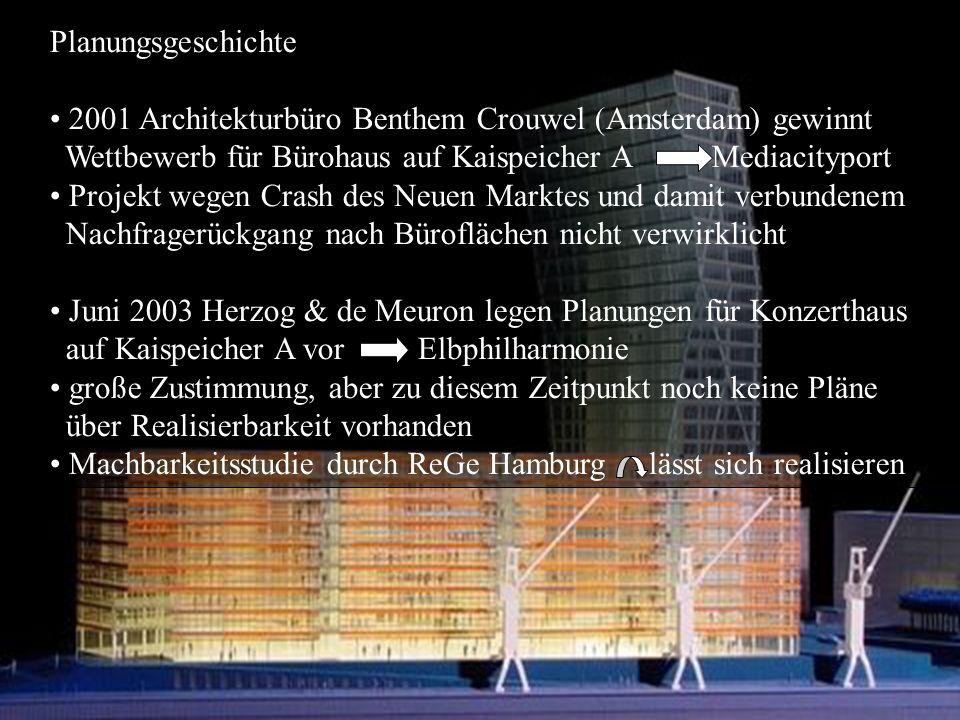 Planungsgeschichte 2001 Architekturbüro Benthem Crouwel (Amsterdam) gewinnt Wettbewerb für Bürohaus auf Kaispeicher A Mediacityport Projekt wegen Crash des Neuen Marktes und damit verbundenem Nachfragerückgang nach Büroflächen nicht verwirklicht Juni 2003 Herzog & de Meuron legen Planungen für Konzerthaus auf Kaispeicher A vor Elbphilharmonie große Zustimmung, aber zu diesem Zeitpunkt noch keine Pläne über Realisierbarkeit vorhanden Machbarkeitsstudie durch ReGe Hamburg lässt sich realisieren