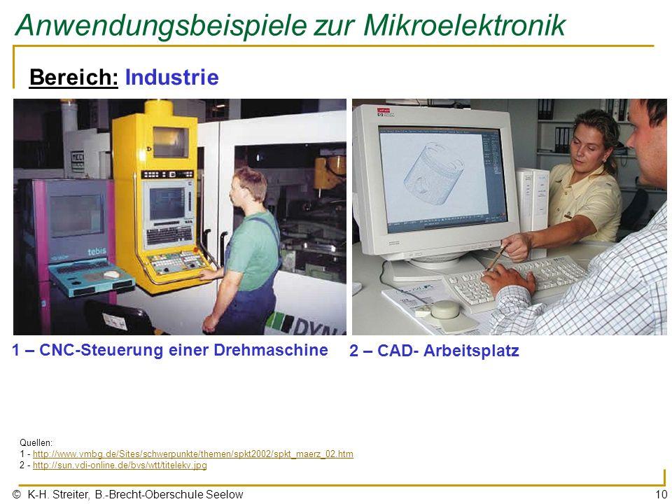© K-H. Streiter, B.-Brecht-Oberschule Seelow10 Anwendungsbeispiele zur Mikroelektronik Bereich: Industrie 1 – CNC-Steuerung einer Drehmaschine Quellen