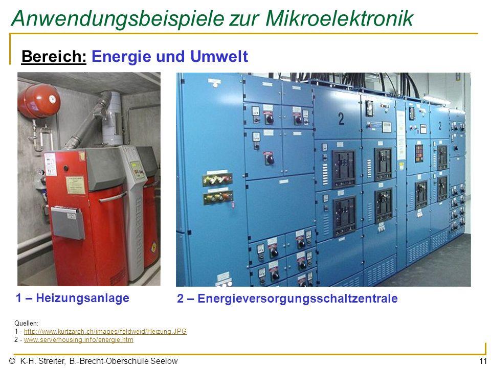 © K-H. Streiter, B.-Brecht-Oberschule Seelow11 Anwendungsbeispiele zur Mikroelektronik Bereich: Energie und Umwelt 1 – Heizungsanlage Quellen: 1 - htt
