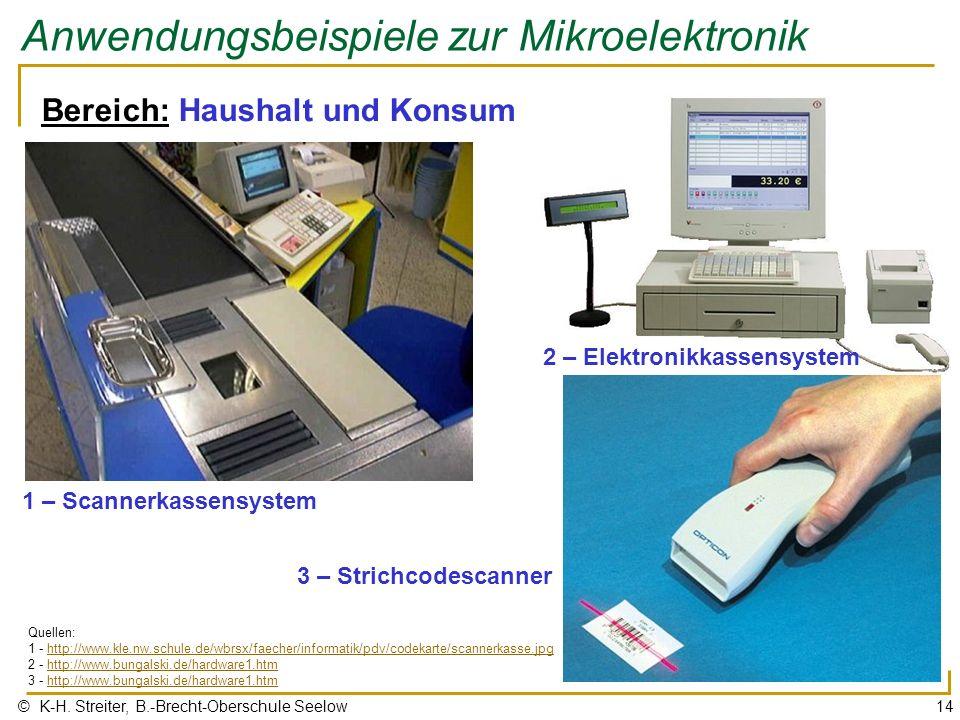 © K-H. Streiter, B.-Brecht-Oberschule Seelow14 Anwendungsbeispiele zur Mikroelektronik 1 – Scannerkassensystem Bereich: Haushalt und Konsum 2 – Elektr