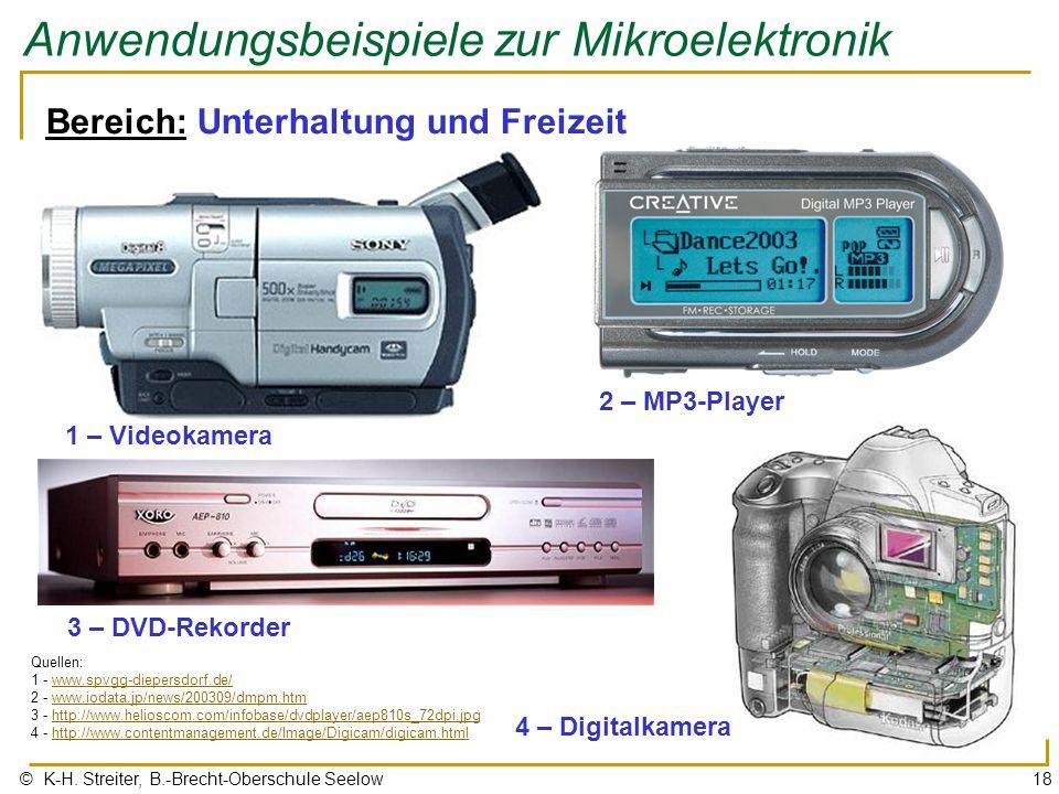 © K-H. Streiter, B.-Brecht-Oberschule Seelow18 Anwendungsbeispiele zur Mikroelektronik Bereich: Unterhaltung und Freizeit 2 – MP3-Player Quellen: 1 -