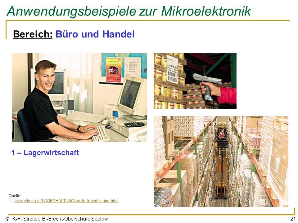 © K-H. Streiter, B.-Brecht-Oberschule Seelow21 Anwendungsbeispiele zur Mikroelektronik Bereich: Büro und Handel 1 – Lagerwirtschaft Quelle: 1 - www.wl