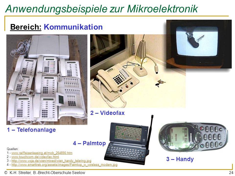 © K-H. Streiter, B.-Brecht-Oberschule Seelow24 Anwendungsbeispiele zur Mikroelektronik 1 – Telefonanlage 3 – Handy Quellen: 1 - www.raiffeisenleasing.