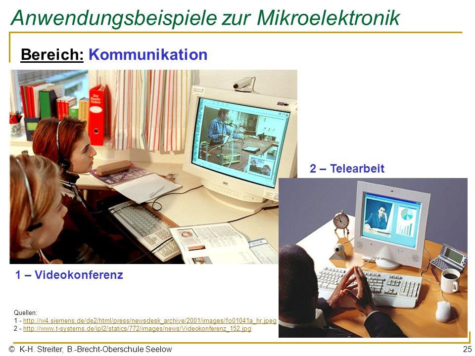 © K-H. Streiter, B.-Brecht-Oberschule Seelow25 Anwendungsbeispiele zur Mikroelektronik Bereich: Kommunikation 1 – Videokonferenz Quellen: 1 - http://w