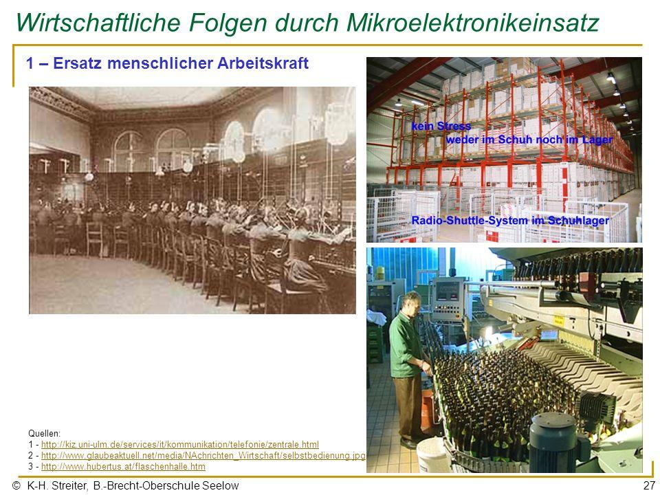 © K-H. Streiter, B.-Brecht-Oberschule Seelow27 Wirtschaftliche Folgen durch Mikroelektronikeinsatz 1 – Ersatz menschlicher Arbeitskraft Quellen: 1 - h