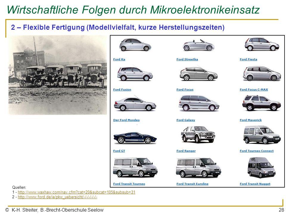 © K-H. Streiter, B.-Brecht-Oberschule Seelow28 Wirtschaftliche Folgen durch Mikroelektronikeinsatz 2 – Flexible Fertigung (Modellvielfalt, kurze Herst