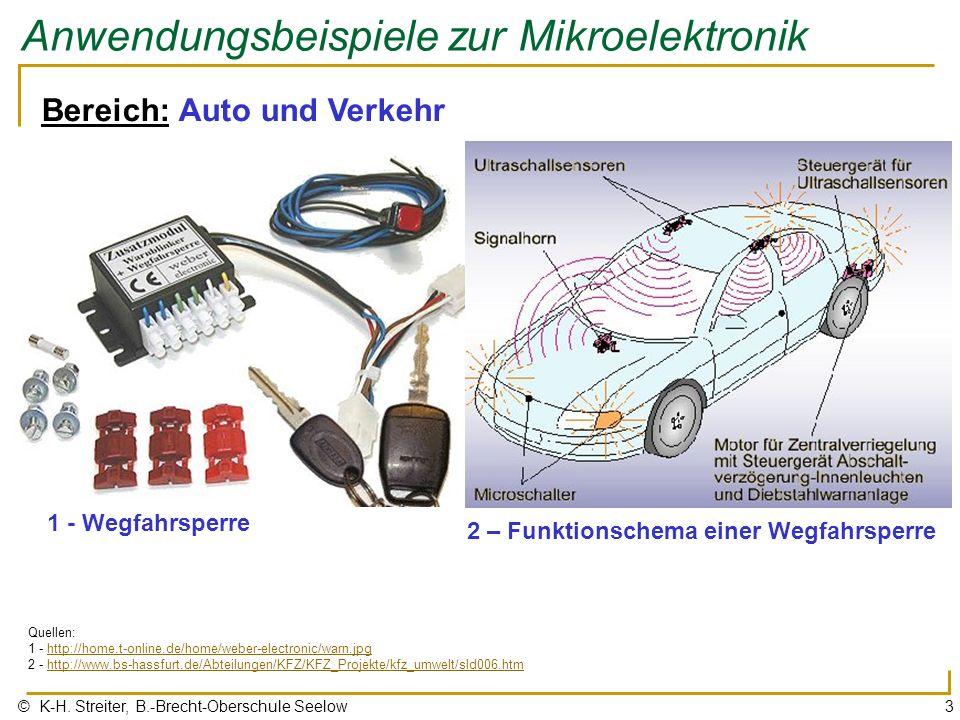 © K-H. Streiter, B.-Brecht-Oberschule Seelow3 Anwendungsbeispiele zur Mikroelektronik Bereich: Auto und Verkehr 1 - Wegfahrsperre Quellen: 1 - http://