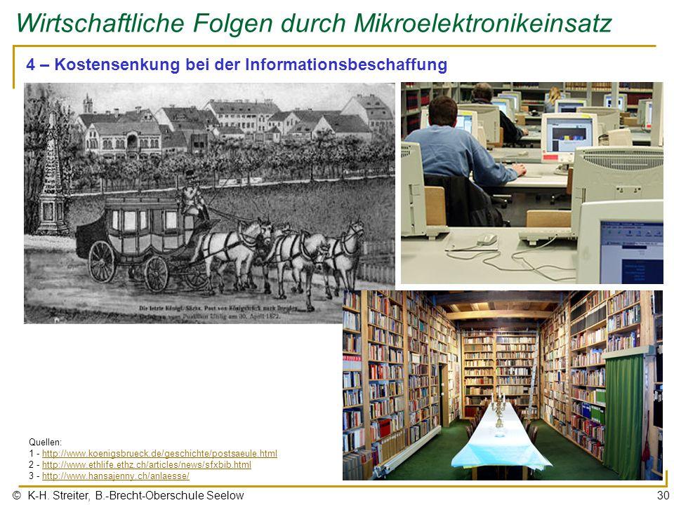 © K-H. Streiter, B.-Brecht-Oberschule Seelow30 Wirtschaftliche Folgen durch Mikroelektronikeinsatz 4 – Kostensenkung bei der Informationsbeschaffung Q