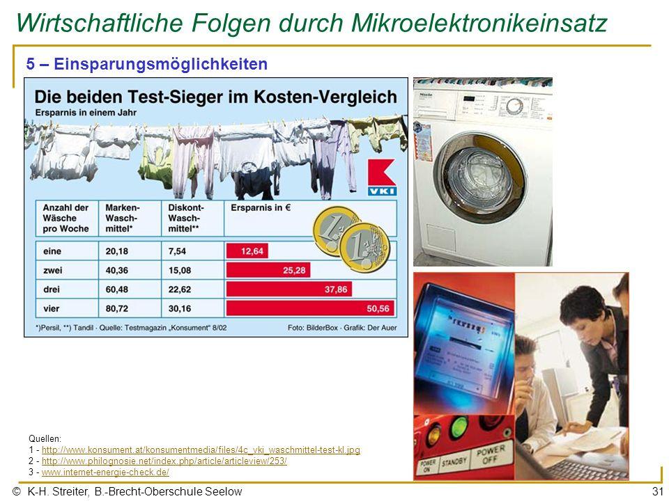© K-H. Streiter, B.-Brecht-Oberschule Seelow31 Wirtschaftliche Folgen durch Mikroelektronikeinsatz 5 – Einsparungsmöglichkeiten Quellen: 1 - http://ww