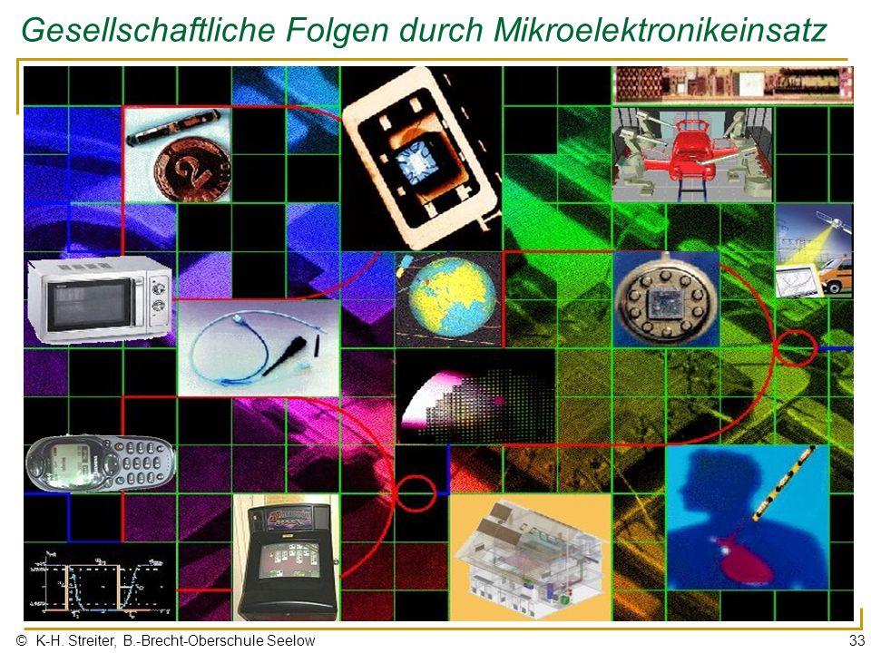 © K-H. Streiter, B.-Brecht-Oberschule Seelow33 Gesellschaftliche Folgen durch Mikroelektronikeinsatz