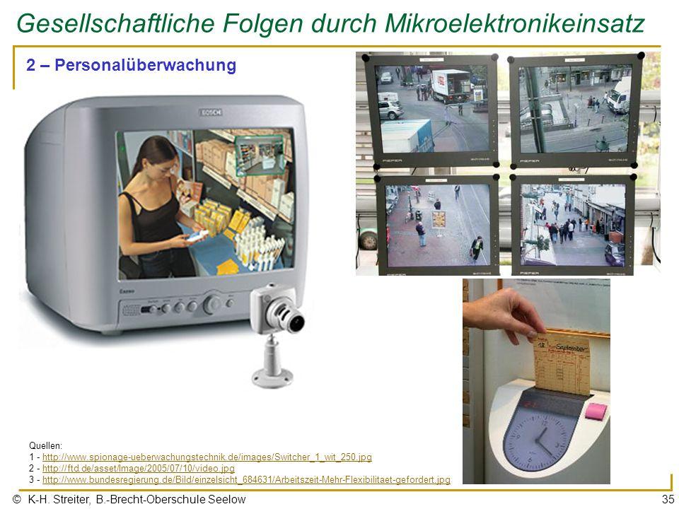 © K-H. Streiter, B.-Brecht-Oberschule Seelow35 Gesellschaftliche Folgen durch Mikroelektronikeinsatz 2 – Personalüberwachung Quellen: 1 - http://www.s