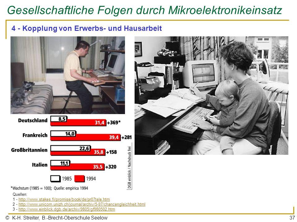 © K-H. Streiter, B.-Brecht-Oberschule Seelow37 Gesellschaftliche Folgen durch Mikroelektronikeinsatz 4 - Kopplung von Erwerbs- und Hausarbeit Quellen: