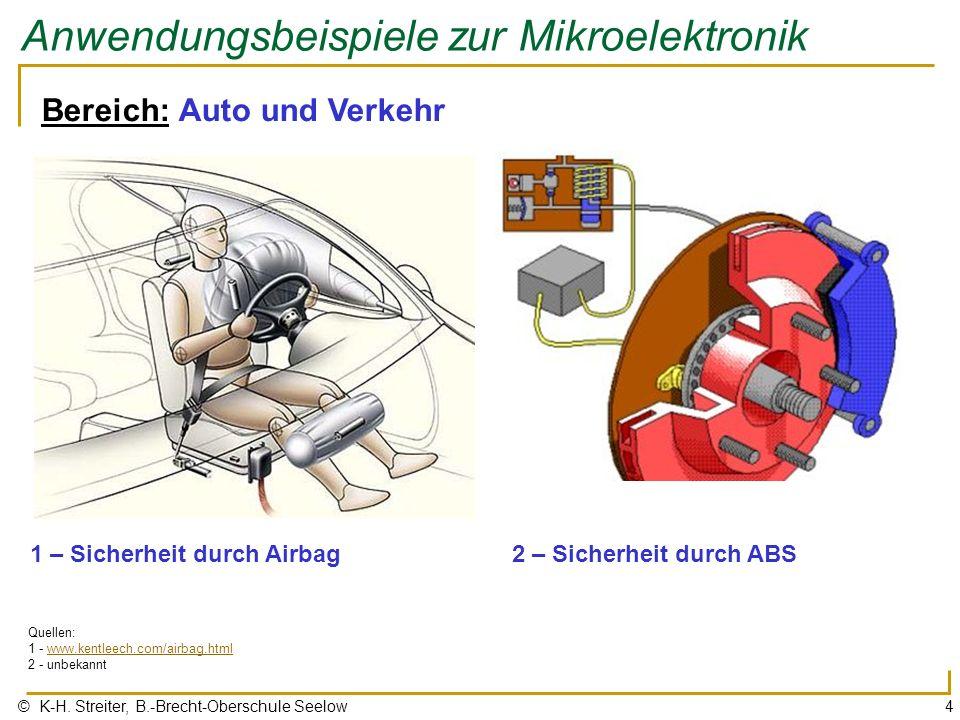 © K-H. Streiter, B.-Brecht-Oberschule Seelow4 Anwendungsbeispiele zur Mikroelektronik Bereich: Auto und Verkehr 1 – Sicherheit durch Airbag Quellen: 1
